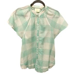 Maeve gingham checkered flutter sleeve button up 7